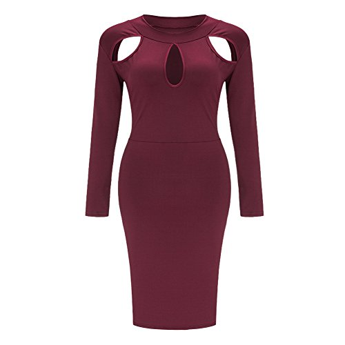 Women's Plus Size Long Sleeve Crewneck Hollow Out Bodycon Party Club Midi Dress Wine Red, X-Large