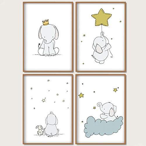 赤ちゃん象ウサギスターウォールアートキャンバス絵画漫画ポスタープリント壁写真女の子男の子ベビーキッズルームインテリア-30×40センチ×4ピースフレームなし