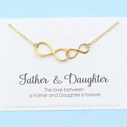 The Love Between a Father & Daughter is Forever • Personalized Double Infinity Necklace • 14k Gold • Christmas Birthday Wedding Gift for Her
