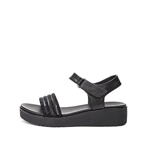 donna piatti tacco casual DHG basso Sandali alla a alti tacco con Pantofole 39 Sandali Tacchi basso da estivi moda Sandali Nero S8I84w