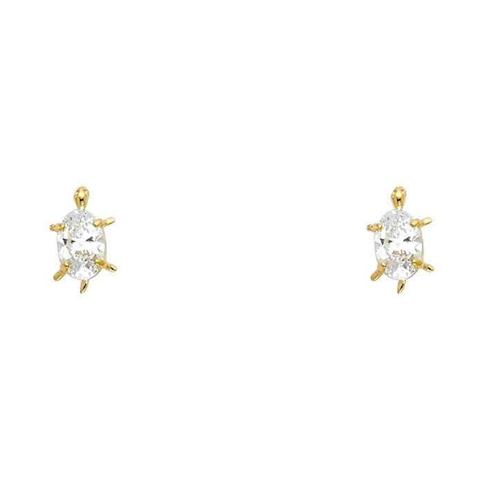2558f491a Amazon.com: 14k Yellow Gold Turtle Stud Earrings with Screw Back: Stud  Earrings: Jewelry