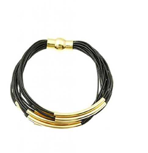 Element Jewelry 20 Strand Black Bracelet with Gold Tone Bar Charms & Magnetic Clasp- 7.5 in