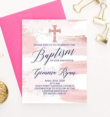 Personalized Baptism Invitations Elegant, Personalized Baptism Invitation, Custom Baptism Invitations for Girls, Your choice of Quantity and Envelope Color