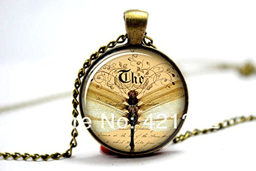 Pretty Lee 2015 Fashion Dragon Fly Necklace Vintage Style Jewelry Cute Dragonfly Pendant Bronze Glass Cabochon Necklace 3234 Christmas gift