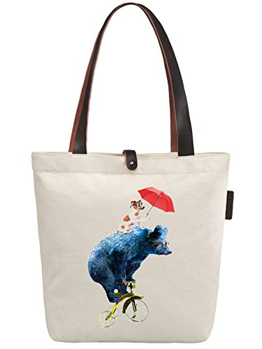 So'each Women's Bicycle Bear Dog Graphic Canvas Handbag Tote Shoulder Bag