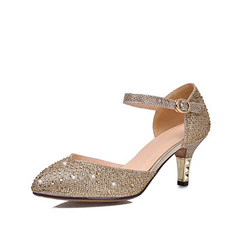 AmoonyFashion Womens Solid Blend Materials Kitten Heels Pointed Closed Toe Buckle Pumps Shoes Gold 6K5poxr