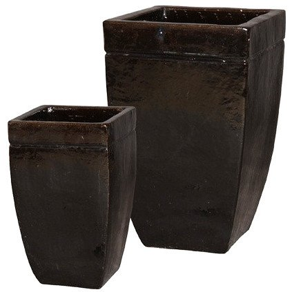 Square Tapered Ceramic Planters - Darkest Brown (set of 2)