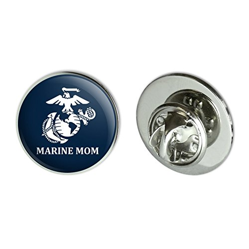 Graphics and More Marine Mom USMC White Logo on Blue Officially Licensed Metal 0.75