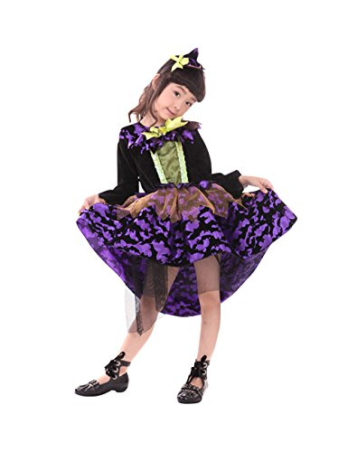 [Halloween Girls' Purple Pretty Fairytale Witch Costume Kid Classic Dress with Hat Absolutely Perfect Purple XL] (Baby Slimer Costume Pattern)