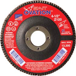 United Abrasives - Ovation Coated Flap Disc - 5/8-11 in Threaded Arbor, 4-1/2 in, 80 Grit, Zirconia Alumina, Type 27, 10/Pack (1 Pack)
