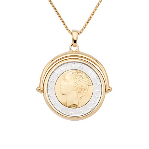 MiaBella 18K Gold Over Sterling Silver Genuine 500 Lira Coin Flip Pendant Necklace for Women, 18