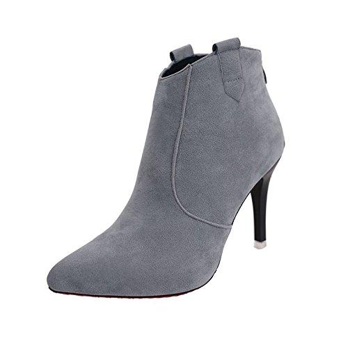 mujer con fina botas Gris alta botas con botas de cortas nuevo Ultra delgada la cortas alta versátil moda con y ultra consejos wRx4qv5