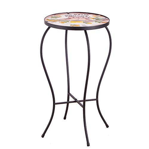 DecentHome Embroidery Style Artscape Accent Glass Top Round Side Table Plant Stand Owl Pattern