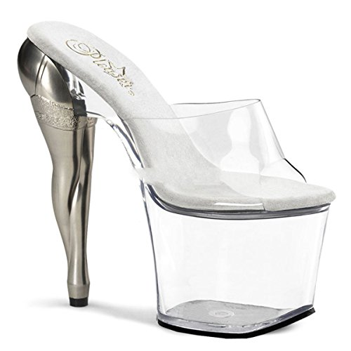 Pleaser Vixen-701 - Sexy High Heels Plateau Sandaletten mit Metall Motiv Heel 35-40, Größe:EU-37 / US-7 / UK-4