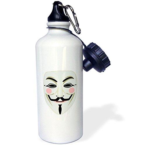3dRose Sven Herkenrath Hacker - Anonymous Mask PC Hacker Data Symbol Trendy Modern - 21 oz Sports Water Bottle (wb_254234_1) by 3dRose