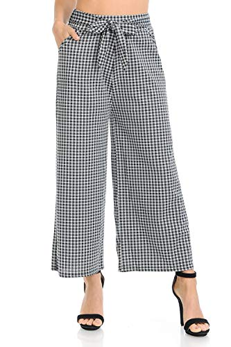 Auliné Collection Womens High Waisted Wide Leg Culottes Cropped Palazzo Pants - B&W Gingham S/M