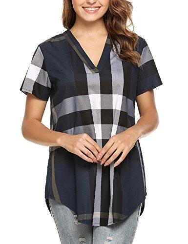 Cheap ELESOL Women Summer V Neck Short Sleeve Plaid Top Blouse hot sale