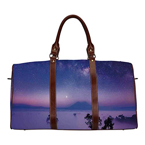 Space Personal Travel Bag,Milk Way Starry Night in a National Park Thailand Mystical Forest Scenery Picture for Market,18.62