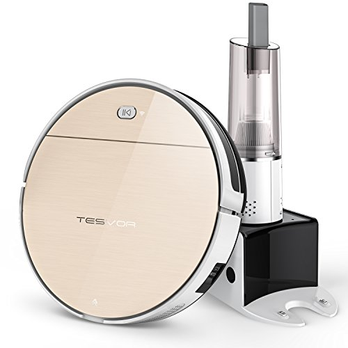 Tesvor V300S Wi-Fi Robot Vacuum Cleaner with Free Handheld Vacuum, Strong Suction for Hard Floor and Thin Carpet with APP Real-time Maps