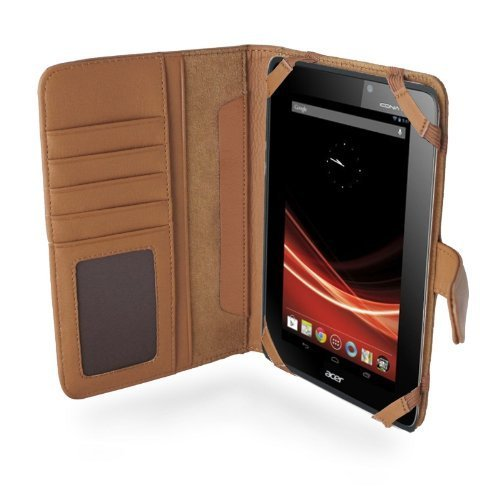 Napa Leather Flip Case (MiTAB Genuine Brown Napa Leather Flip Open 7 Inch Book Style Carry Case / Cover for the Acer Iconia Tab A110 (Jelly Bean / Ice Cream, Sandwich))