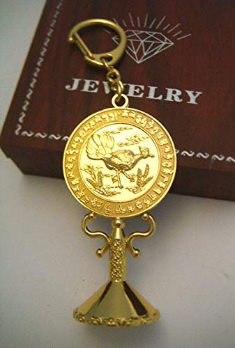 Davitu Feng Shui Three Legged Bird with 3 The Sun Gold Key Chain Women New Year Gifts Xmas Gifts (L) W1002