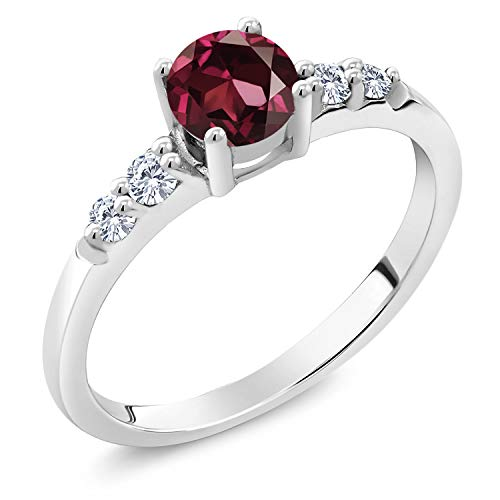 Gem Stone King 925 Sterling Silver Red Rhodolite Garnet and White Lab Grown Diamond Women Engagement Ring (0.75 Ct Round Available in size 5, 6, 7, 8, 9)