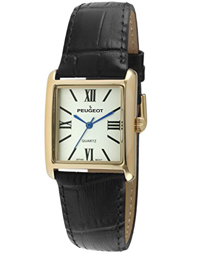 (Peugeot Women's '14k Gold Plated Tank Roman Numeral Band' Quartz Stainless Steel and Leather Dress Watch, Color:Black (Model: 3036BK))