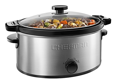 Chefman Locking Lid Slow Cooker w/3 Manual Heat Settings, Removable Stoneware Crock Insert for Easy Cleaning, 6 Quart Capacity, Stainless Steel