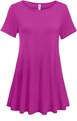 Simlu Magenta Womens Short Sleeve A Line Tunic Tops reg and Plus Size Tunic Shirt For - Magenta Shirt