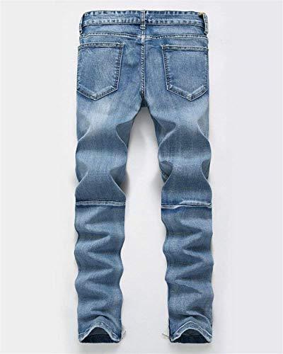 Ragazzi Skinny Hellblau Classiche Fit Chern Destroyed Strech Casual Jeans Uomo Da Pantaloni Holes Denim Slim zFHOx6znW