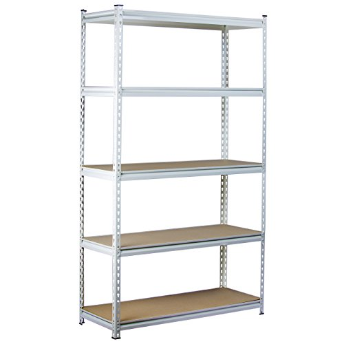 King's Rack 5-Tier White Steel Storage Rack Boltless Shelving Tier Height Adjustable 30