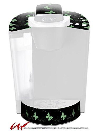 Pastel Butterflies Green on Black - Decal Style Vinyl Skin fits Keurig K40 Elite Coffee Makers (KEURIG NOT INCLUDED)