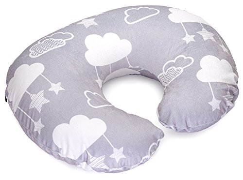 Minky Nursing Pillow Cover - Perfect Slipcover for Breastfeeding Moms | Soft Fabric Fits Snug On Infant Nursing Pillows to Aid Mothers While Breast Feeding | Stars and Clouds