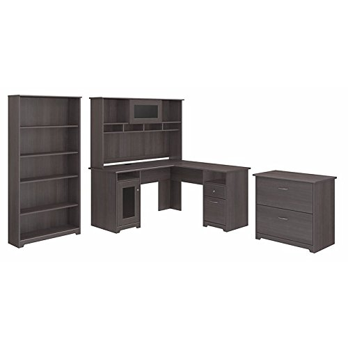 Price comparison product image Bush Furniture Cabot L Shaped Desk with Hutch,  Lateral File Cabinet and 5 Shelf Bookcase