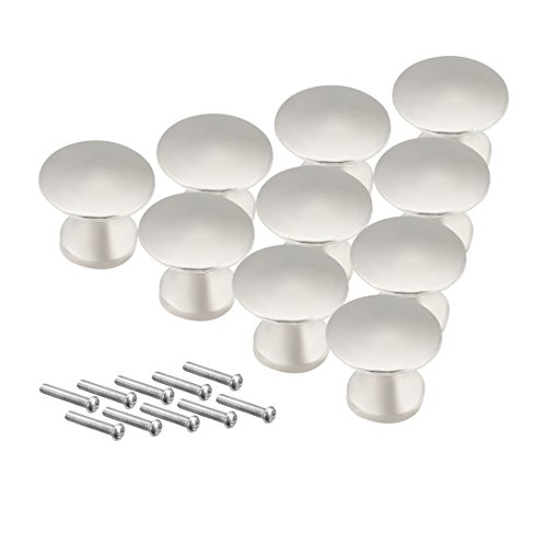 uxcell 12mmx11mm Drawer Single Hole Zinc Alloy Round Knob Pull Handle Silver Tone 10pcs (Silver Tone Drawer Pulls)