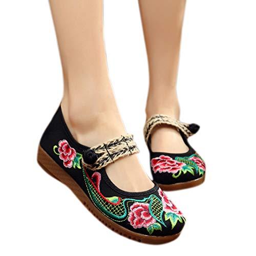 Nero Mary Da Shoes Donna Jane Ricamo Cintura Cinese Con Ballerine Yefree HvqRZxwB