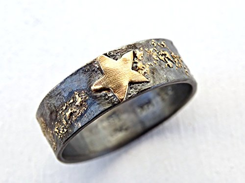 mens gold star ring, mens wedding band gold and silver, night sky ring, mens promise ring, viking wedding ring gold, celtic wedding band