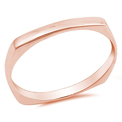 Square Stacking Ring (Rose Gold-Tone Square Stacking Midi Ring Sterling Silver Thumb Band Size 6)