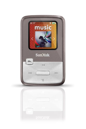 SanDisk Sansa Clip Zip 4GB MP3 Player, Grey With Full-Color Display, MicroSDHC Card Slot and Stopwatch- SDMX22-004G-A57G  (Discontinued by Manufacturer) (Sansa Zip Clip 4gb)
