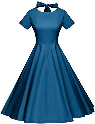 GownTown Womens 1950s Vintage Retro Party Swing Dress Rockabillty Stretchy Dress Aqua Blue