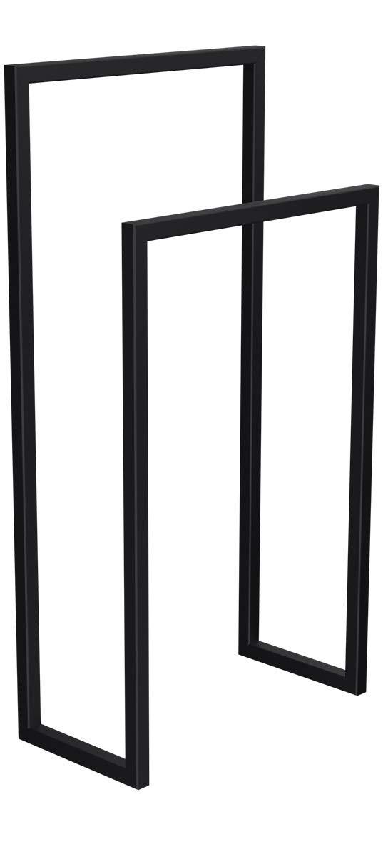 HLMH-01-88-45-9005 HxBxT 88x45x20 cm HOLZBRINK Metall Handtuchhalter f/ür Badezimmer Kleiderst/änder Freistehender Handtuchst/änder mit 2 Stangen Tiefschwarz