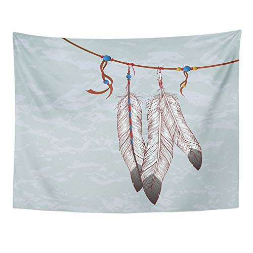 Emvency Tapestry Wall Hanging Native Colorful of Feathers Bead Navajo Cherokee Ink Indian Eagle American 50