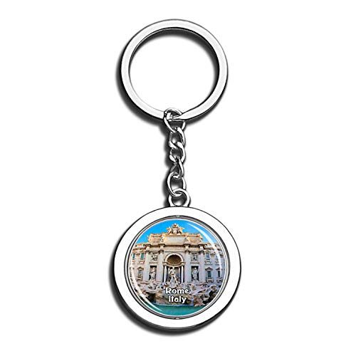 Rome Treasure Pool Italy 3D Crystal Creative Keychain Spinning Round Stainless Steel Key Chain Ring Travel City Souvenir Collection]()