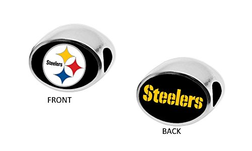 Final Touch Gifts Pittsburgh Steelers 2-Sided Bead Fits Most Bracelet Lines Including Pandora, Chamilia, Troll, Biagi, Zable, Kera, Personality, Reflections, Silverado and More (Silverado Bead Charm)