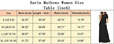 Sarin Mathews Women's Short Sleeve Loose Casual Long Maxi Dress with Pockets