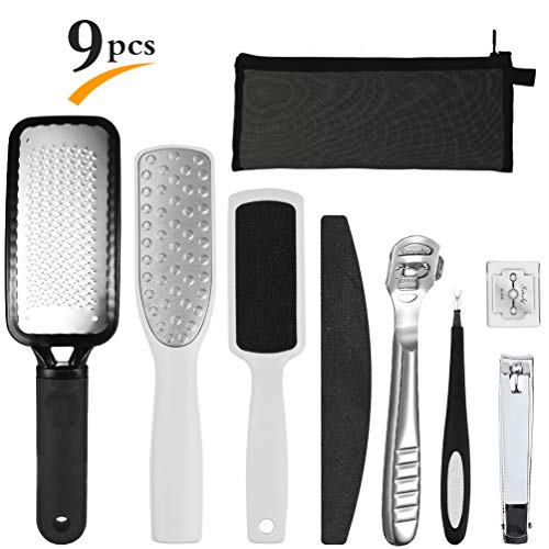 PRETTY SEE Pedicure Rasp Foot File Callus Remover 8 in 1 Pedicure Kit for Removing Hard Skins and Cracked Skin Corns, Feet Exfoliating Scrubber Cleaner File 9 ()