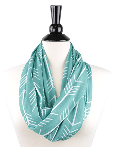 (Pop Fashion Women's Teal Arrow Patterned Infinity Scarf with Zipper)