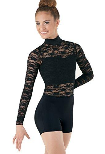 Balera Dance Biketard Mock Neck Floral Lace Bodice Overlay and Long Sleeves ()