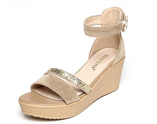 SHFANG Sandalias Femeninas Verano Poe Pez Boca Zapatos Mesa impermeable Espesor de fondo Compras Los estudiantes trabajan tres colores 6 cm Khaki