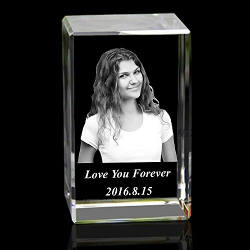 Personalised Custom 2D/3D Laser Engraving Photo Crystal Cube Etched Glass Picture Block Paperweight for Wedding and Birthday Gifts (Crystal Keepsake Photo)